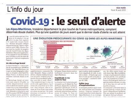 Nice-Matin - 18 août 2020 - stats Covid