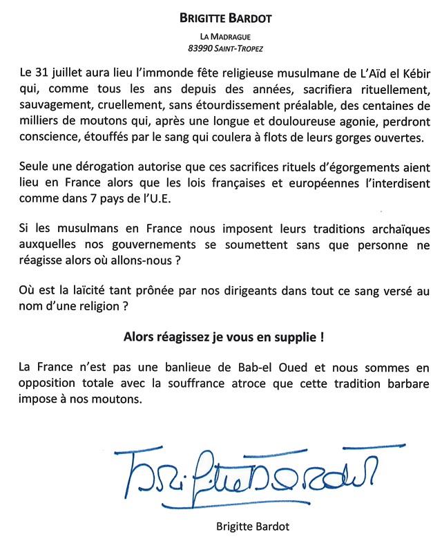 Brigitte Bardot - Communiqué Aïd el Kebir