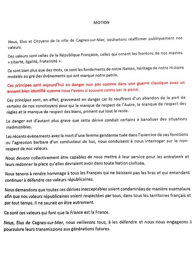 Conseil municipal Cagnes-sur-Mer ennemi invisible