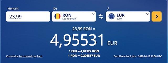 Conversion Lei Euros