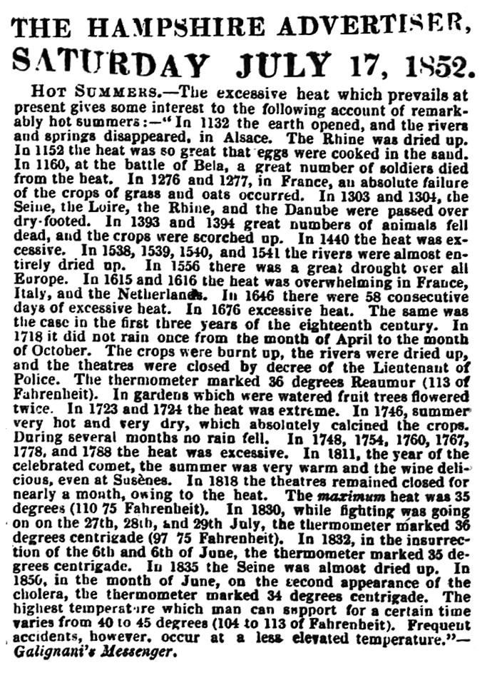 Hampshire Adveretiser - July 1852 - Canicules