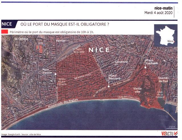 Nice Matin 4 août 2020 - plan Nice - masque