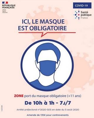 Zone masque obligatoire