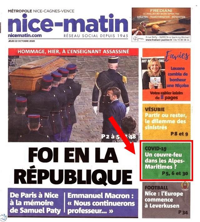 Nice-Matin - jeudi 22 octobre 2020 - Foi république