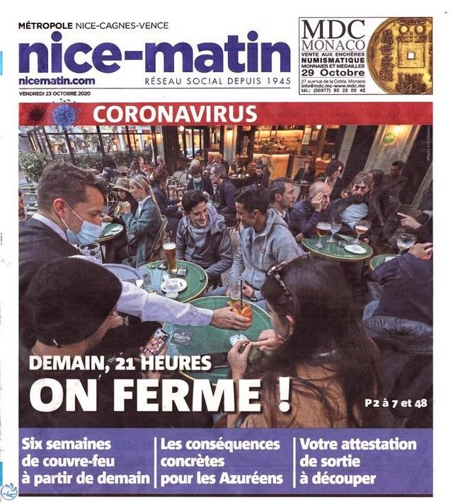 Nice-Matin - vendredi 23 octobre 2020 - Couvre-feu