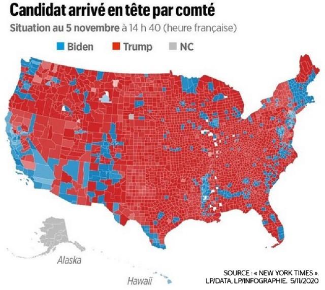 Élection présidentielle américaine 2020 Trump Biden - Résultats par comté
