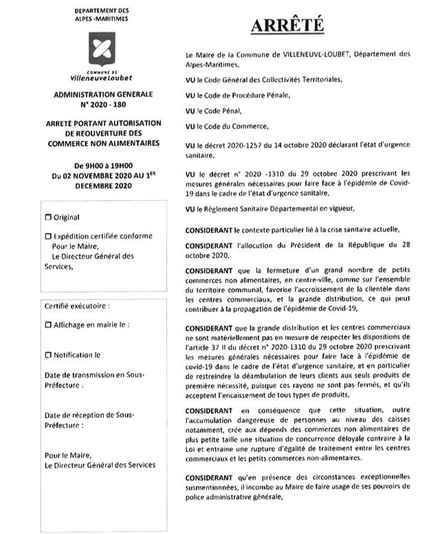Villeneuve-Loubet - Arrêté municipal confinement