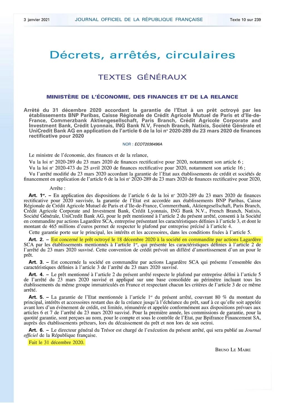 Journal Officiel - 3 janvier 2021 - Prêt 465 millions Euros - Lagardère