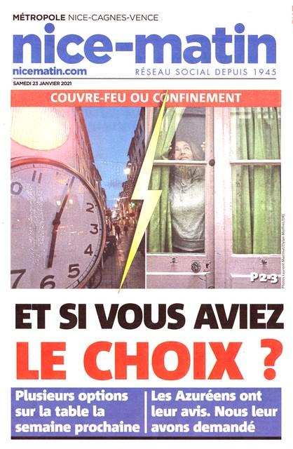 Nice-Matin - 23 janvier 2021 - Choix confinement couvre-feu