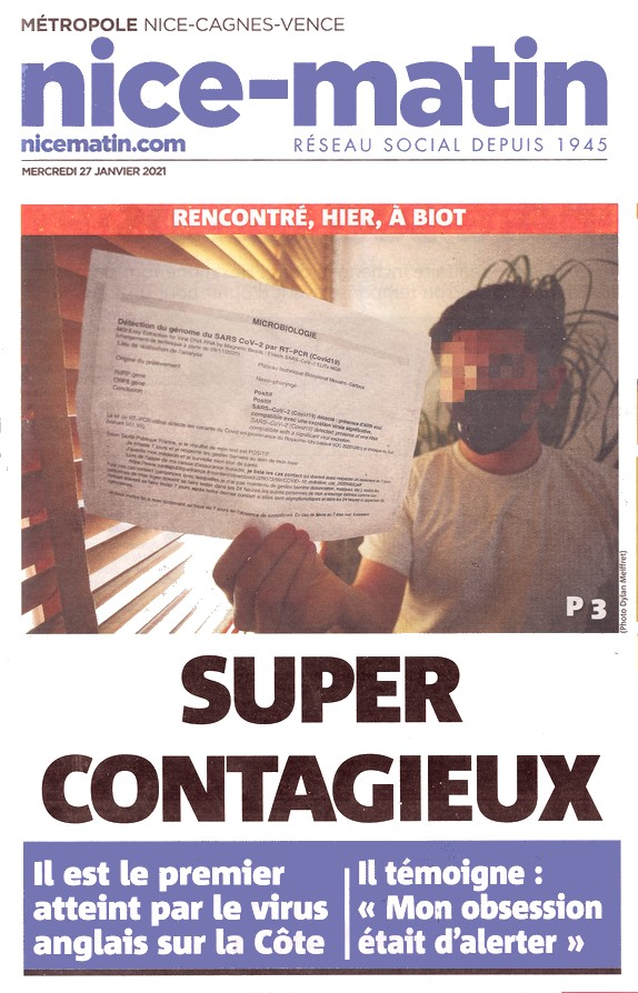 Nice-Matin - 27 janvier 2020 - super-contagieux