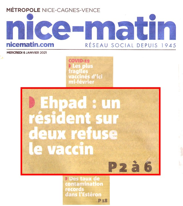 Nice-Matin - 6 janvier 2021 - vaccination Ehpad