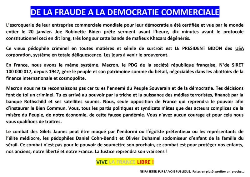 Tract Gilets Jaunes - 23 janvier 2021