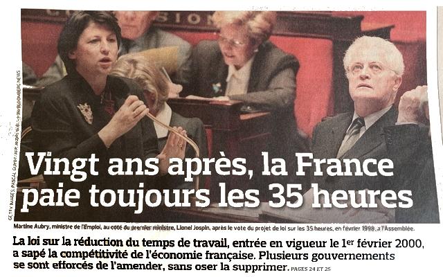 Vingt ans après France paie 35 heures