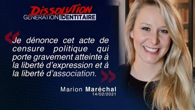 Génération Identitaire - Dissolution - Marion Maréchal
