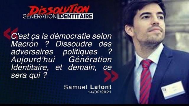 Génération Identitaire - Dissolution - Samuel Lafont