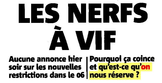 Nice-Matin - 22 février 2021 - Nerfs à vif