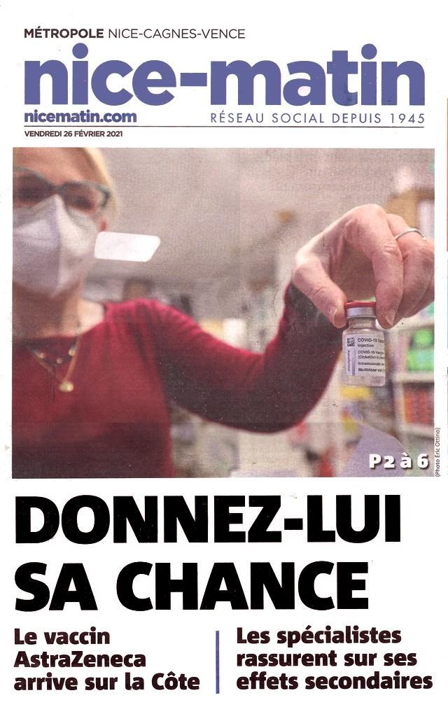 Nice-Matin - 26 février 2021 - Chance vaccin