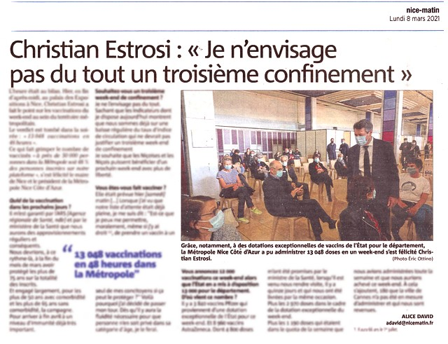 Nice-Matin 8 mars 2021 - Estrosi - Confinement