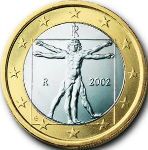 Pièce italienne 1 euro - Homme Vitruve