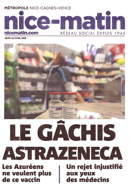 Nice-Matin 22 avril 2021 - Astrazeneca