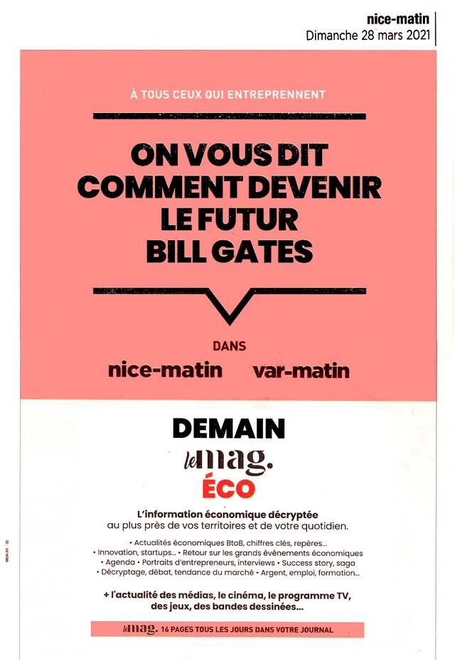 Nice-Matin - 28 mars 2021 - Bill Gates