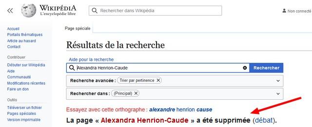 Wikipédia reconnaît avoir SUPPRIMÉ la page d'Alexandra Henrion-Claude
