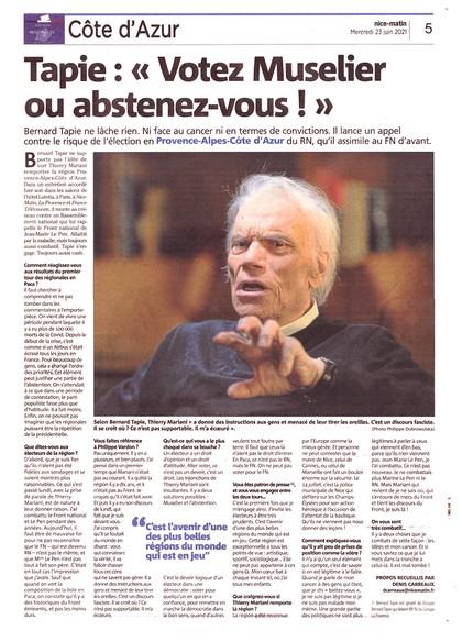 Nice-Matin - 23 juin 2021 - Bernard Tapie abstention