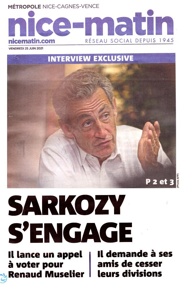 Nice-Matin - 25 juin 2021 - Sarkozy soutient Muselier