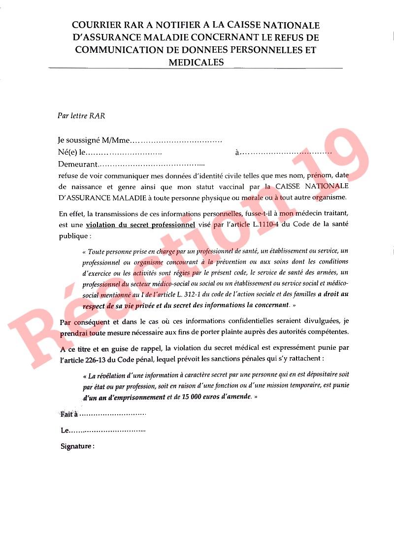 Courrier Caisse Nationale Assurance Maladie-1