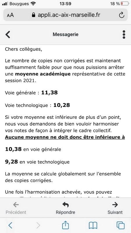 Notes recommandées - Baccalauréat
